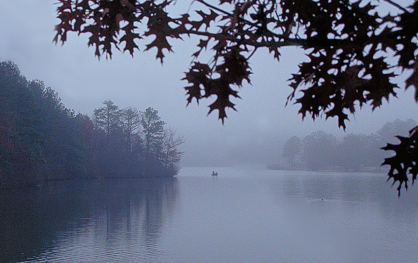 Misty Morning Lake & Fisherman
