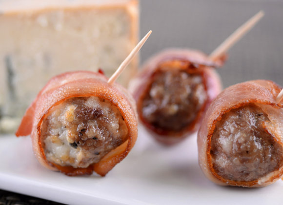 Bacon Wrapped Meatball With Bleu Cheese
