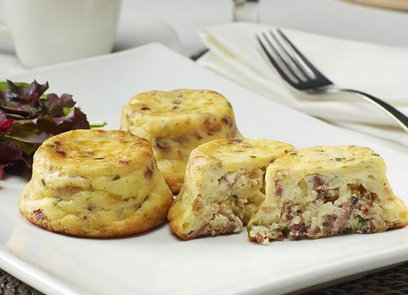 Bacon Swiss Crustless Mini Quiche 15 per Tray