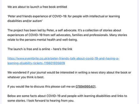 Press release for 'Peter and friends experience of  COVID-19: for people with learning disabilities