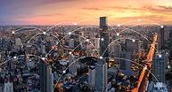 Bangkok cityscape with network connectio