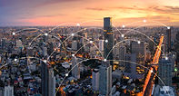 Bangkok cityscape with network connectio