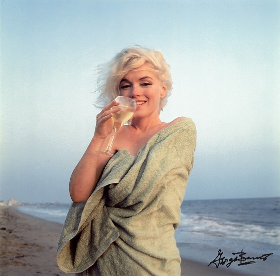 Marilyn Monroe Champagne Sipping On The Beach