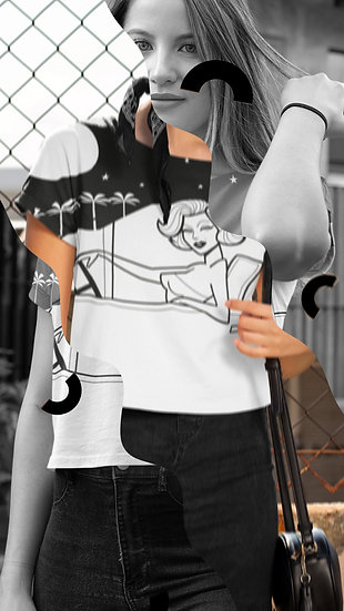 Marilyn Mulholland Moonlighting All Over Print Crop Tee