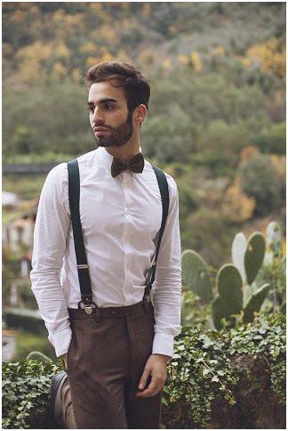 蝶ネクタイとブレイシーズの着こなし