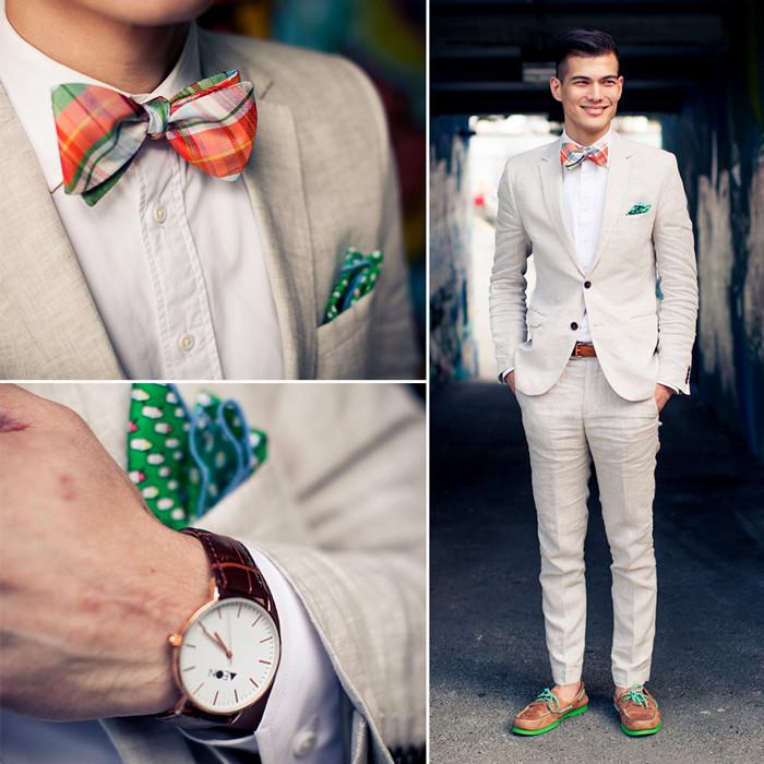 麻のスーツとチェックの蝶ネクタイ