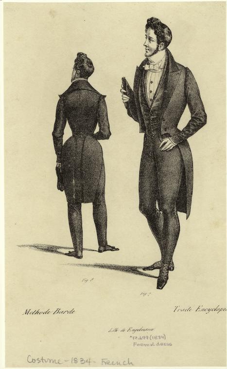 1834年のフランスの燕尾服イラスト