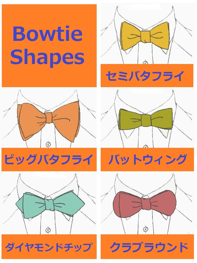 蝶ネクタイの種類と形