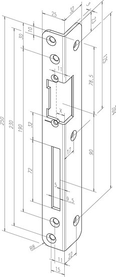 Winkel-Schliessblech I Universal I -------06935-0# I gerundet