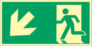 """Fluchtwegschild """"Pfeil links unten"""""""