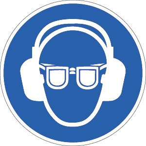 Sicht- und Gehörschutz tragen