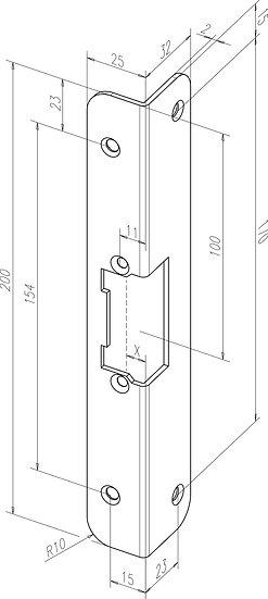 Winkel-Schliessblech I Universal I -------38935-01 I kurz