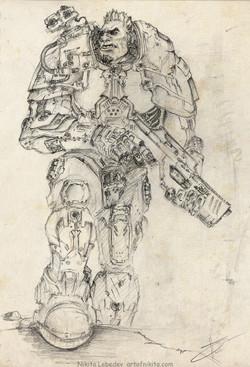 Futuristic heavy gunner