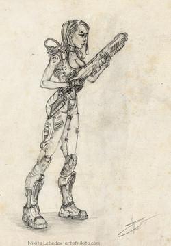 Futuristic girl soldier