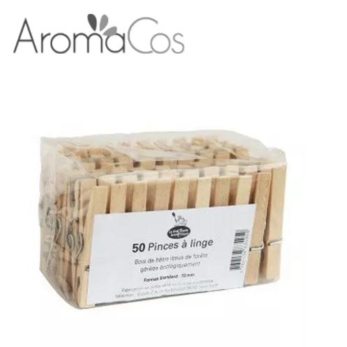 50 Pinces à linge en bois d'hêtre