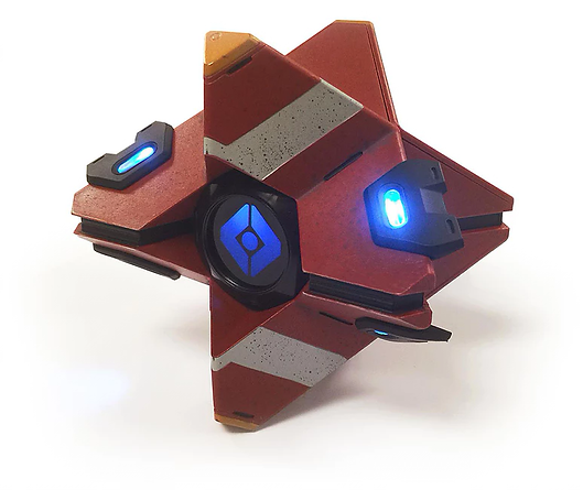 Burnt amber replica of Destiny Ghost featuring motion sensor, game voice recordings and blue LED lights.