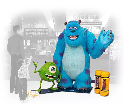 Life-size display of Mike & Sulley, from Pixar's Monsters, Inc. featuring interactive Scream Machine.