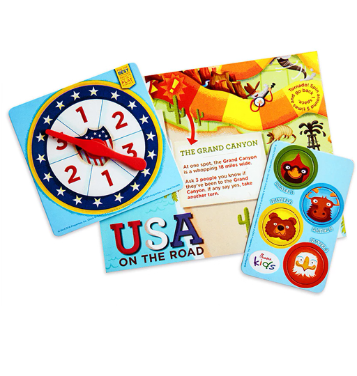 Game board toy with spinner and animal playing pieces to travel to interesting places across the United States.