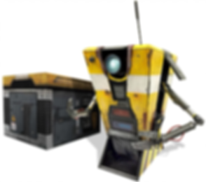 Borderlands Handsome Collection Limited Edition yellow Claptrap app-controlled robot and case.