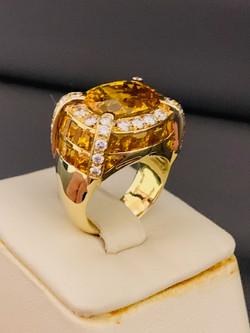 SFJ Design Yellow Topaz Diamond Ring Design