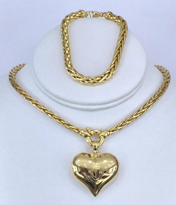 Wheat Chain / Heart Pendant