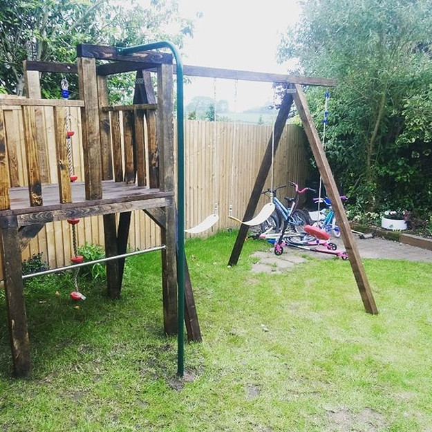 Climbing Frame with swings and Fireman's Pole