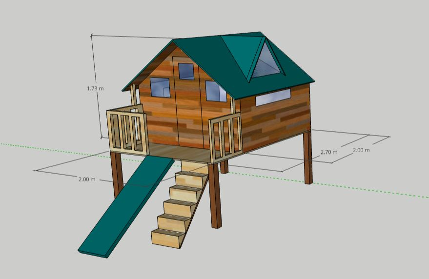 Playhouse with slide and dormer window