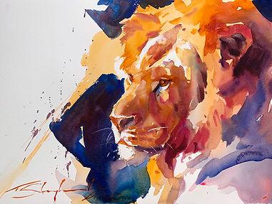 Lion Portrait WC websize72dpi.jpg