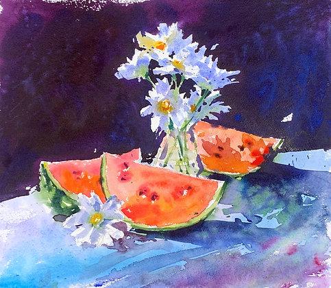 """Watermelons"", Watercolour 30x34 cm"