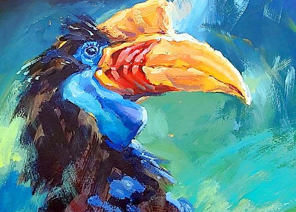 """""""Hornbill"""" , Acrylic , A4"""