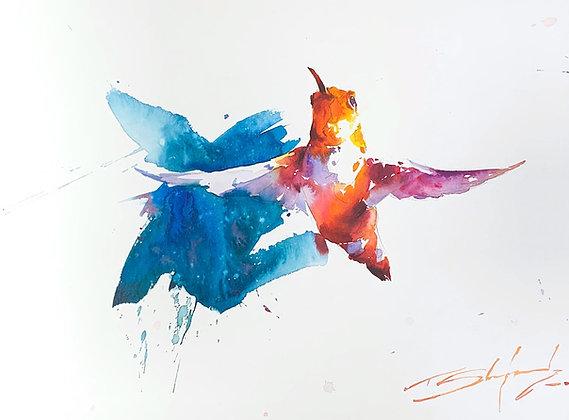 "Colourful Hummer  - Hummingbird 11"" x 14"""