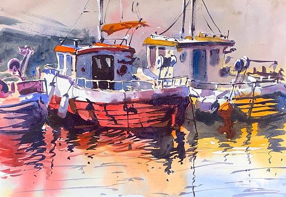 """Boat Lights"", Watercolour A3 (30x42cm)"