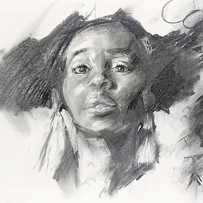 """""""Portrait"""" Charcoal on paper (28x29cm)"""