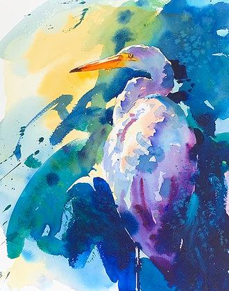 """Egret"", Watercolour A3"