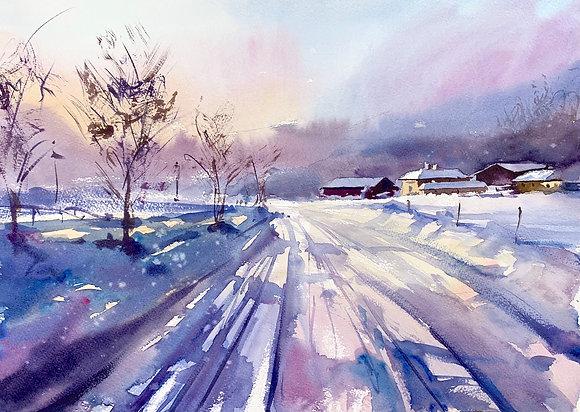 Snow Tracks Watercolour A3 (30x42cm)