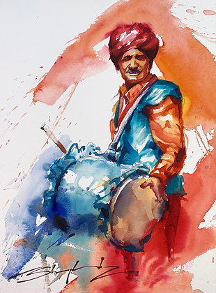Indian Drummer Watercolour A3 (30x42cm)