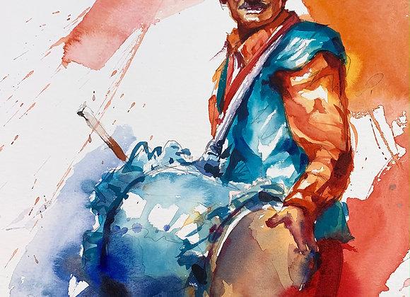 Indian Drummer Watercolour A3 (30x42cm)