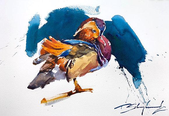 Mandarin Duck Watercolour A3 (30x42cm)