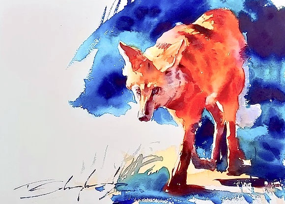 """""""Mained Wolf"""" Watercolour A3 (30x42cm)"""