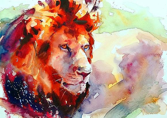 """Lion"", Watercolour A3 (30x42cm)"