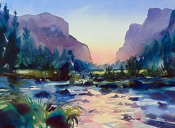 """Landscape at Dawn"" Watercolour A3 (30x42cm)"
