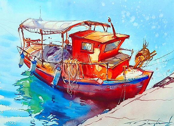 """""""Boat in Harbour""""  , Watercolour A3 approx 30""""x 42"""""""