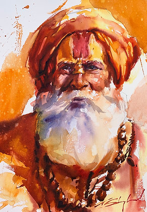 Orange Hues Indian Portrait, Watercolour A3 (30x42cm)