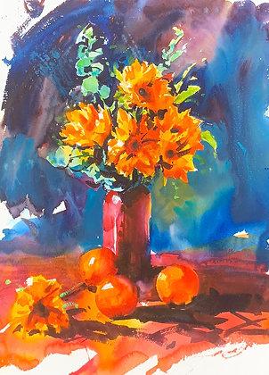 """""""Sunflowers"""" watercolour (40x56cm)"""