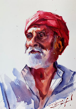 Cool Hues Indian Portrait, Watercolour A3 (30x42cm)