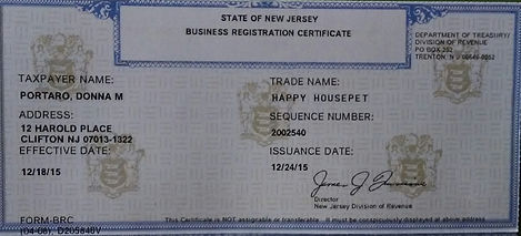 Happy HousePet business registration certificate