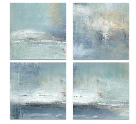 4 piece Blue Abstract giclée prints