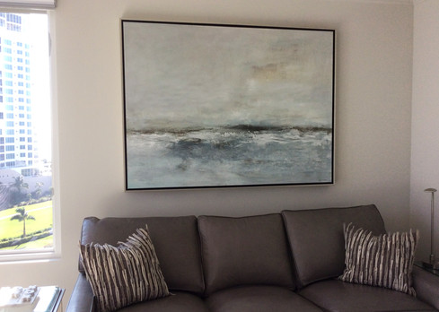 Blue seascape painting on canvas framed