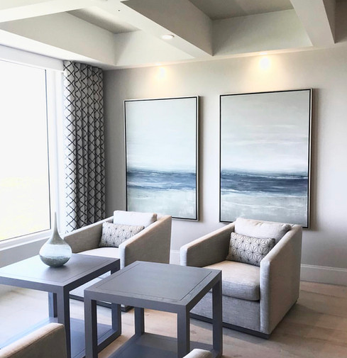Custom Seascape Diptych Blues and Gray. Interior Design by Laurie Walters, Cardamon Design.