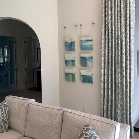 A vibrant coastal 6 piece on plexi-glass